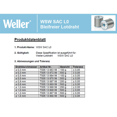 WSW SAC L0 Lead free solder wire