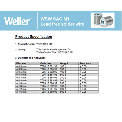 WSW SAC M1 Lead free solder wire