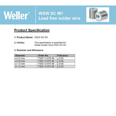 WSW SC M1 Lead free solder wire